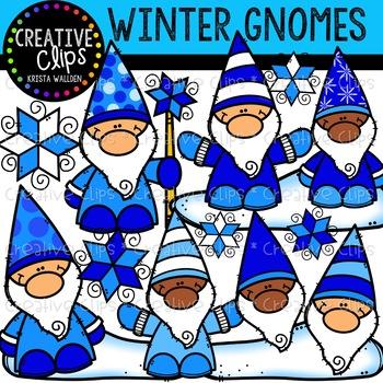Gnomes creative clips . Winter clipart snowy