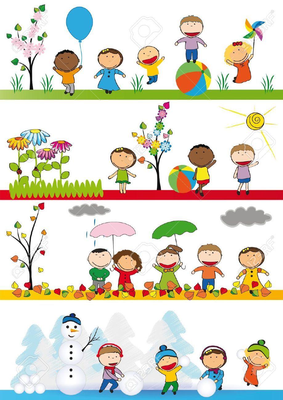 Stock vector preschool seasons. Winter clipart summer