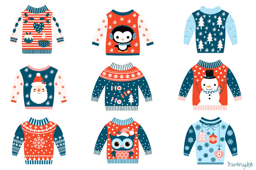 Winter clipart sweater. Tacky christmas ugly sweaters