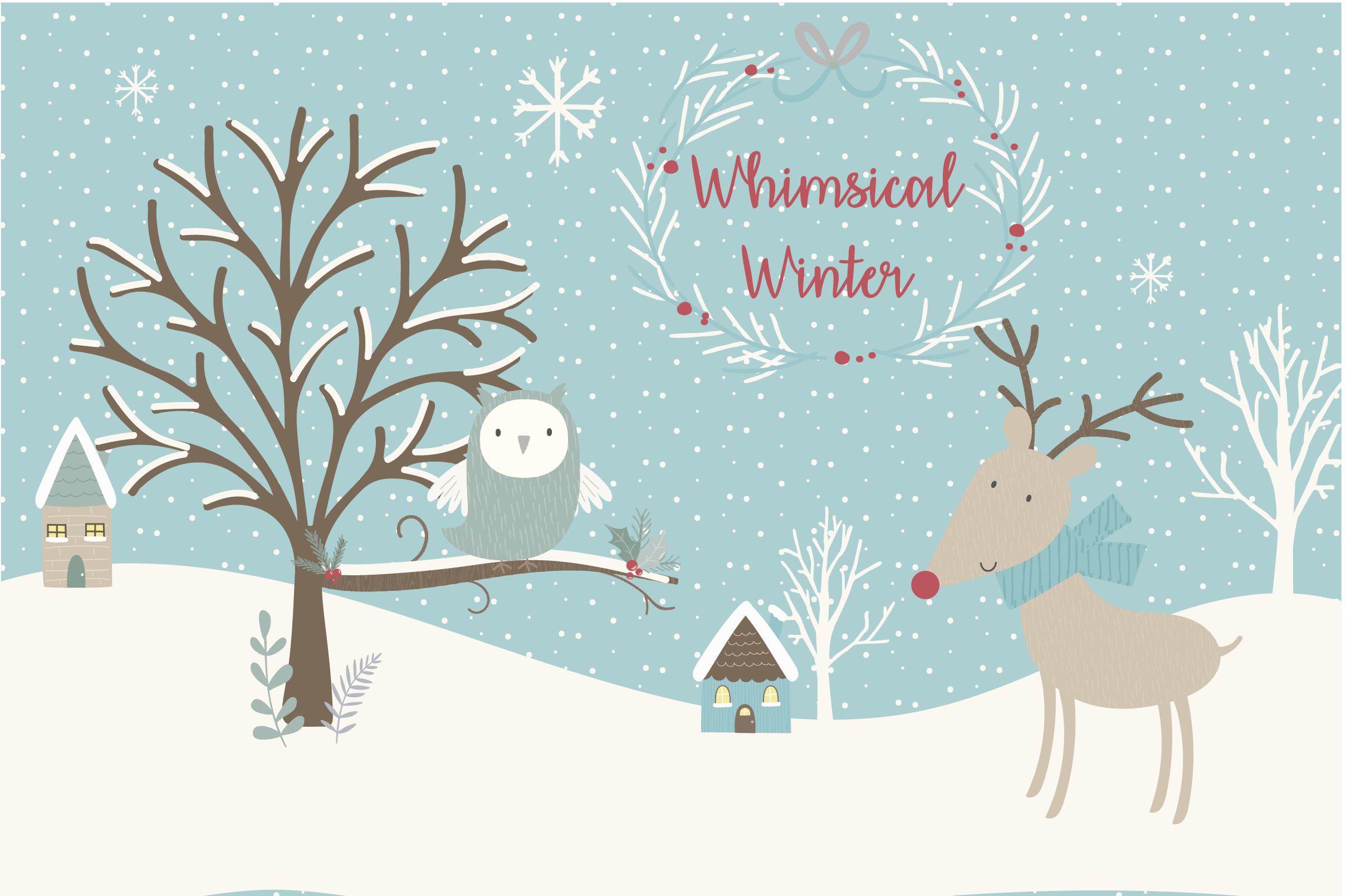 Winter clipart teal. Sale now only whimsical