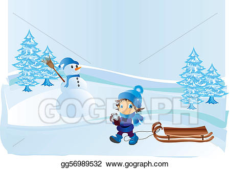Vector art child on. Winter clipart walk