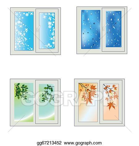 Winter clipart window. Stock illustration seasons gg