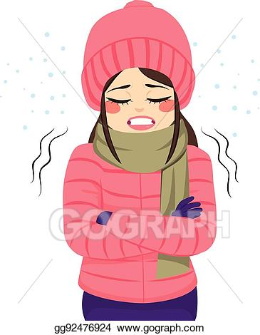 Vector freezing clothes . Winter clipart woman