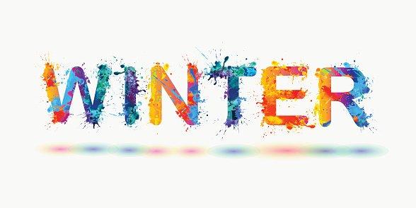 Winter clipart word. Rainbow splash paint sign
