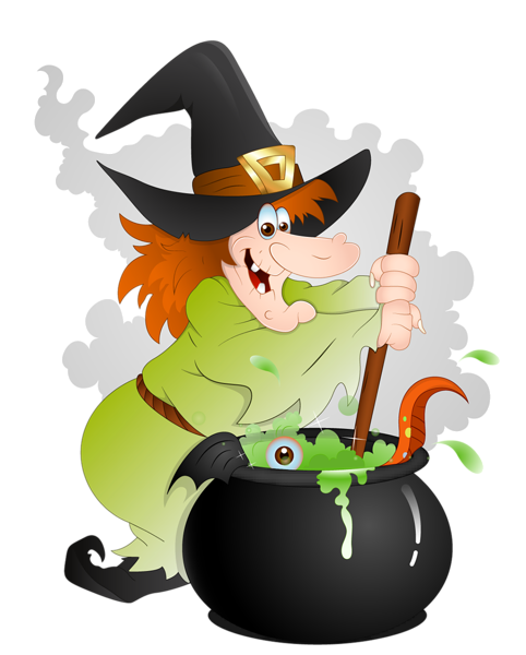 Witch clipart. Halloween with cauldron png