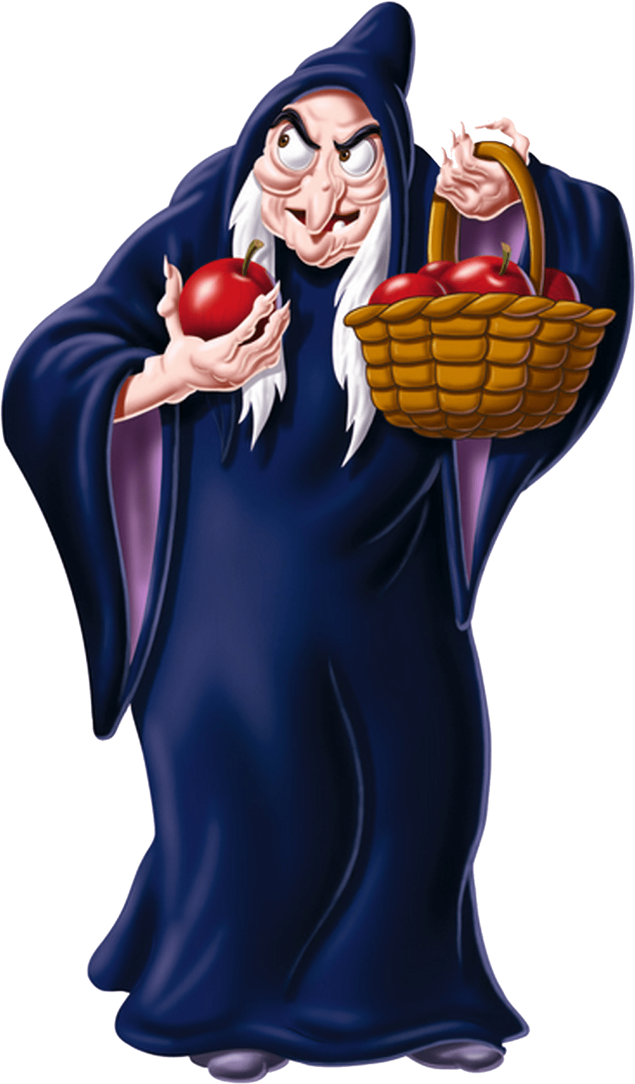 Snow white old woman. Witch clipart apple