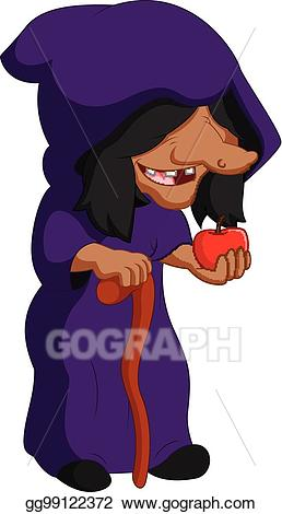 Eps illustration holding an. Witch clipart apple