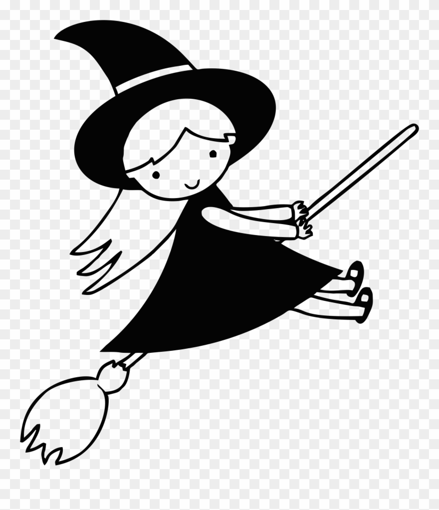 Witch clipart black and white. Big image clip art