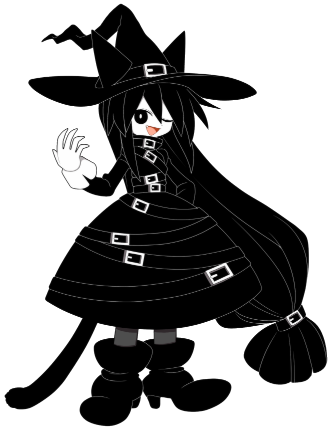 Witch clipart black cat. Chlomaki wadanohara and the