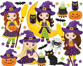 Witch clipart body. Etsy