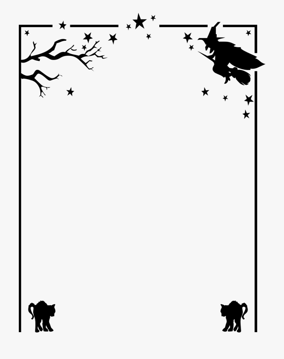 Witch clipart border. Halloween cat paw png