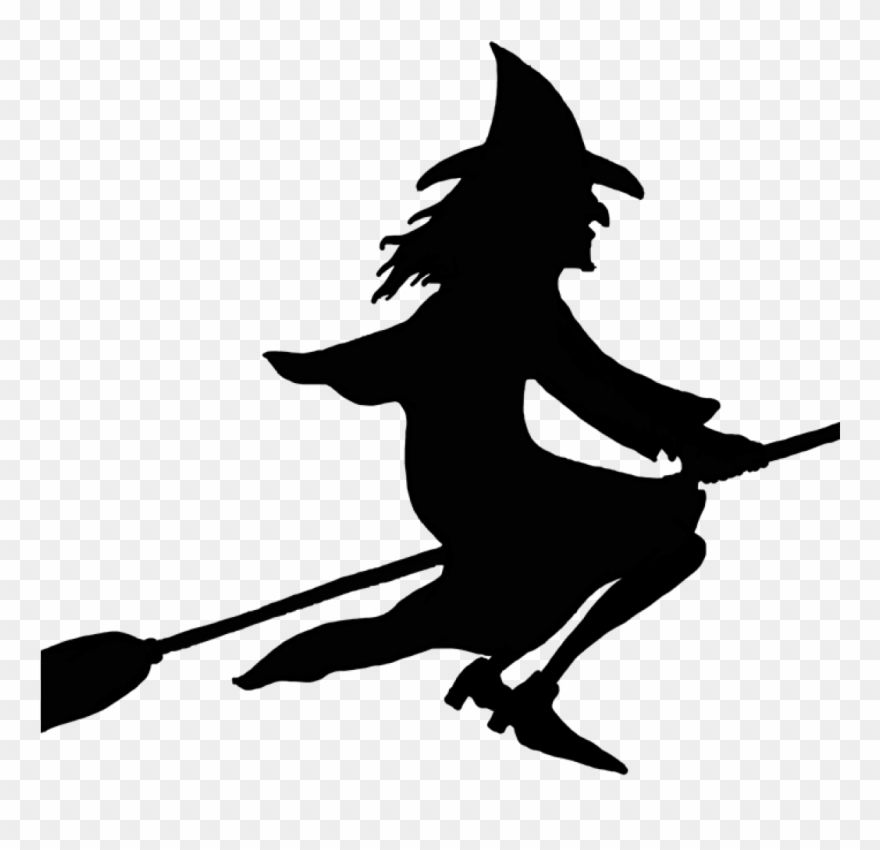 On broomstick . Witch clipart broom silhouette