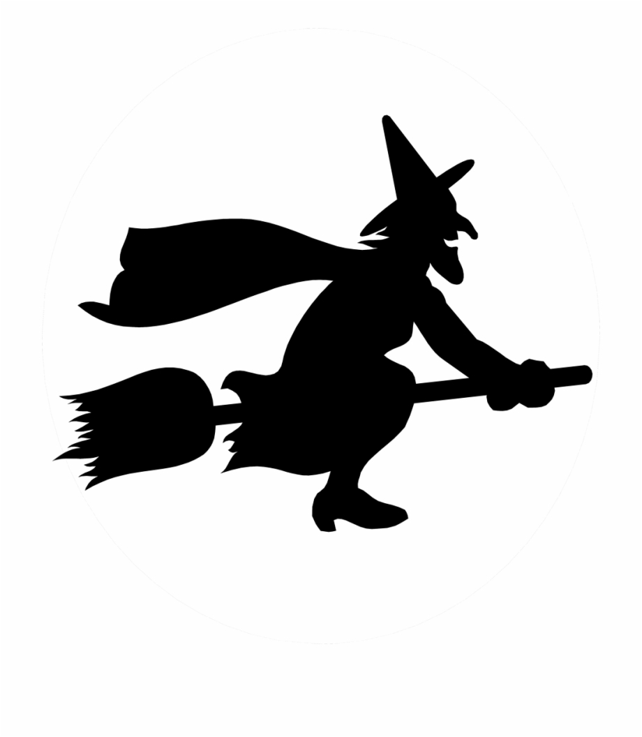 Witch clipart broom silhouette. Flying png on a
