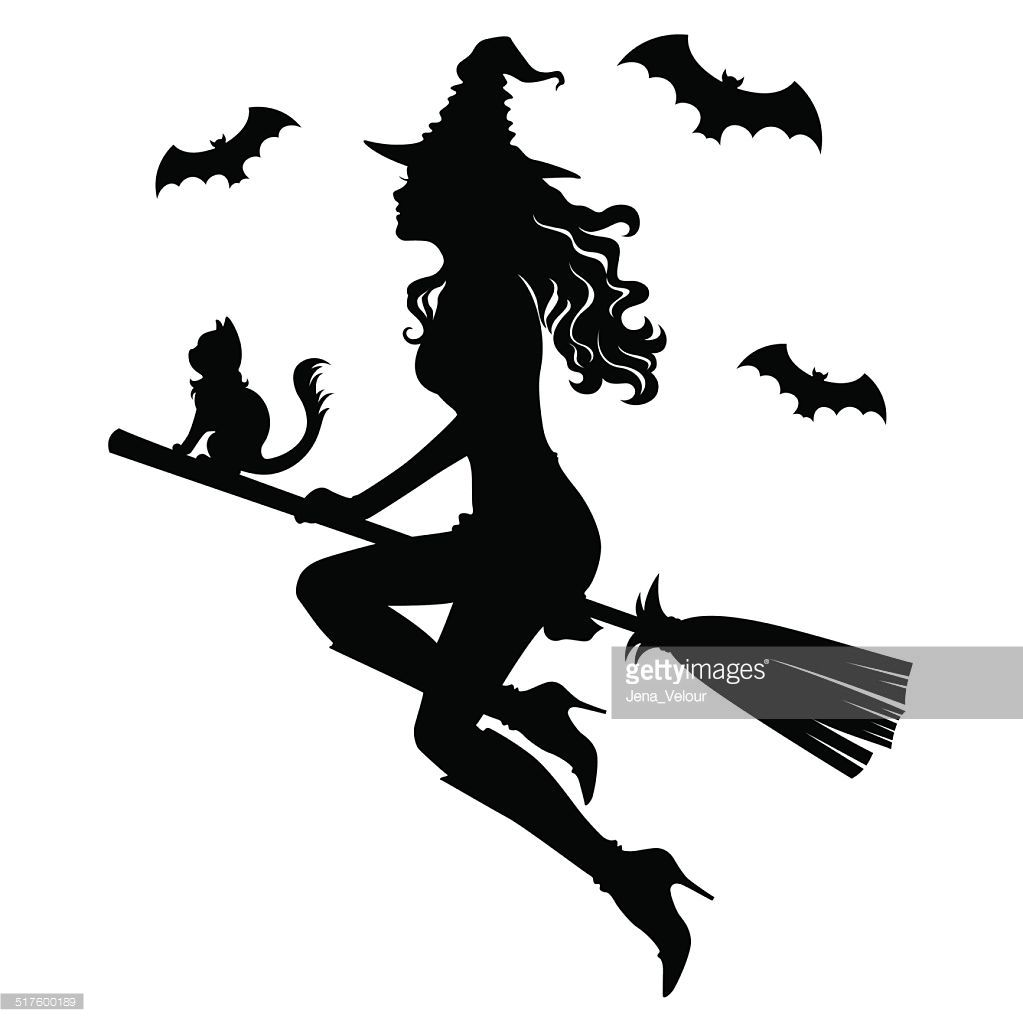Witch clipart broom silhouette. The beautiful of a