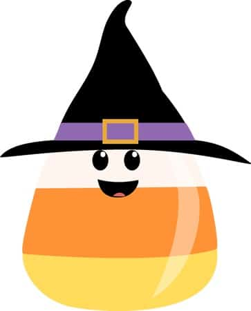 Witch clipart candy corn. Cute wearing witches hat