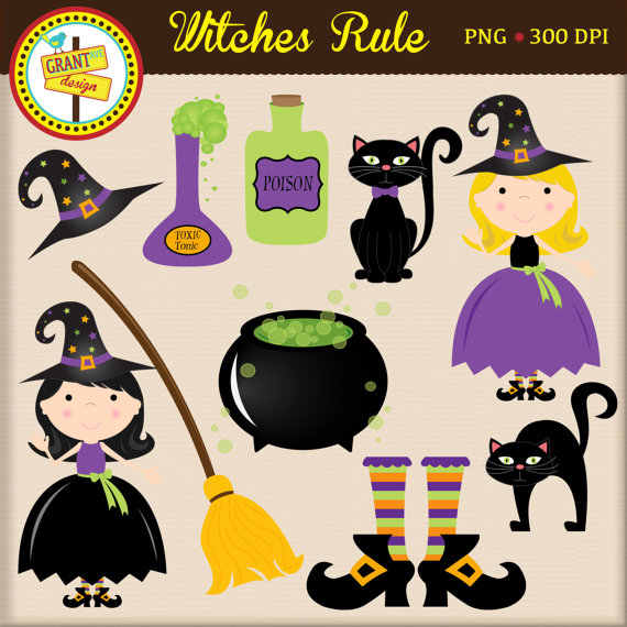 Forest animals woodland . Witch clipart christmas