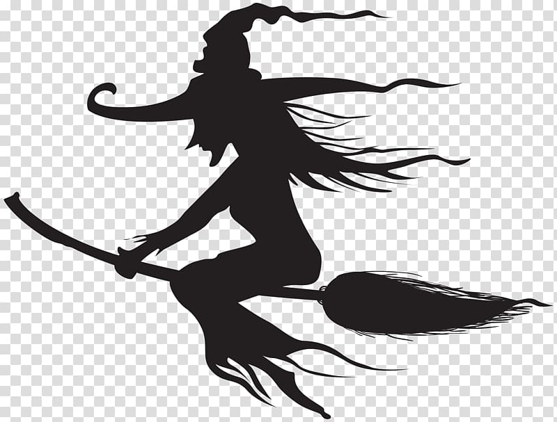 Silhouette witchcraft halloween . Witch clipart clear background