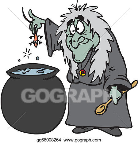 Witch clipart cooking. Vector illustration halloween eps