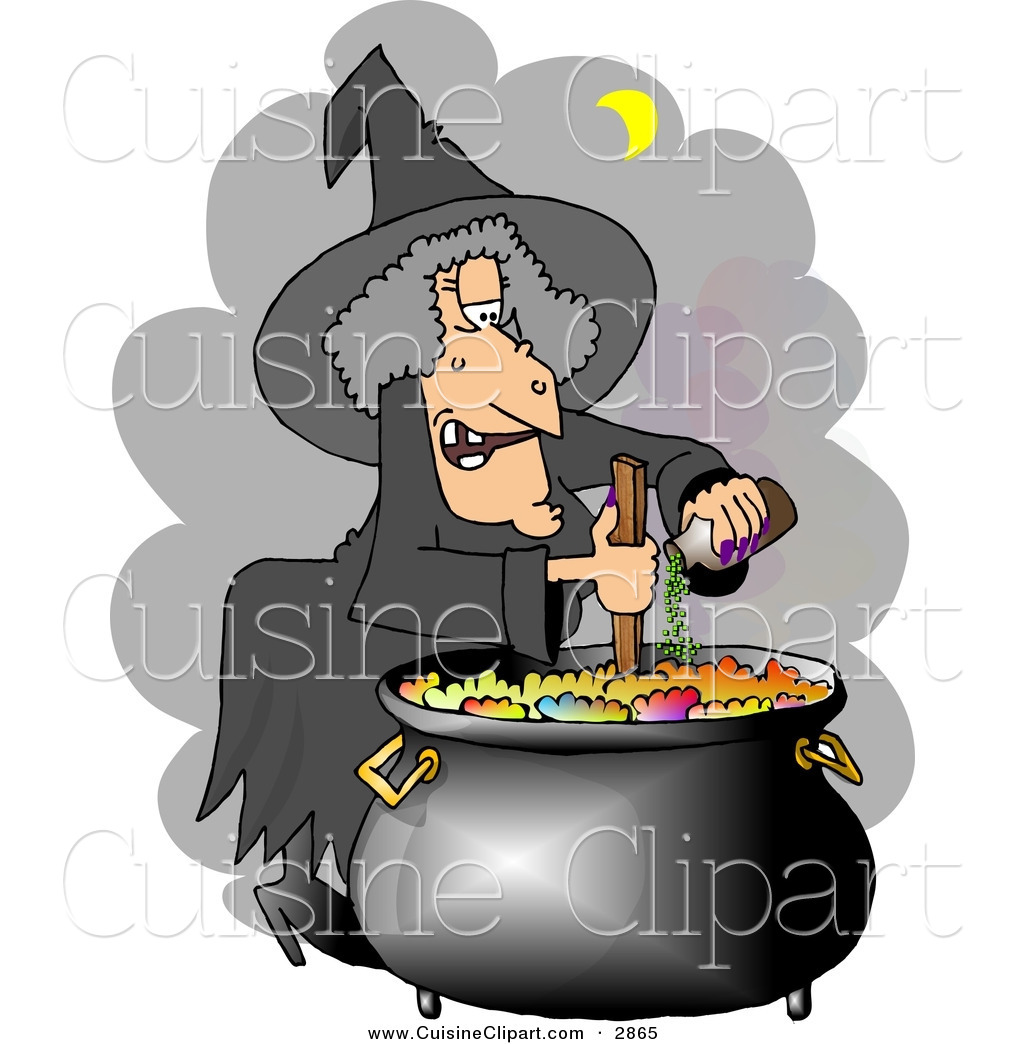 Cuisine of a white. Witch clipart cooking
