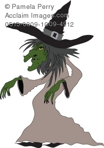 Halloween clip art illustration. Witch clipart creepy