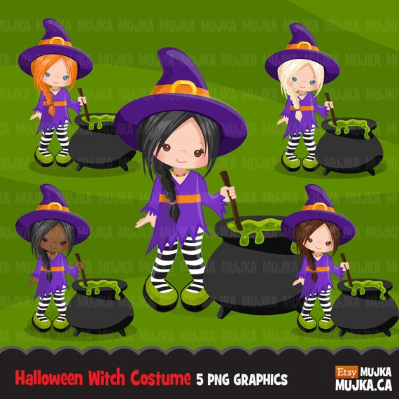 Witch clipart cute halloween character. Kids in costumes party