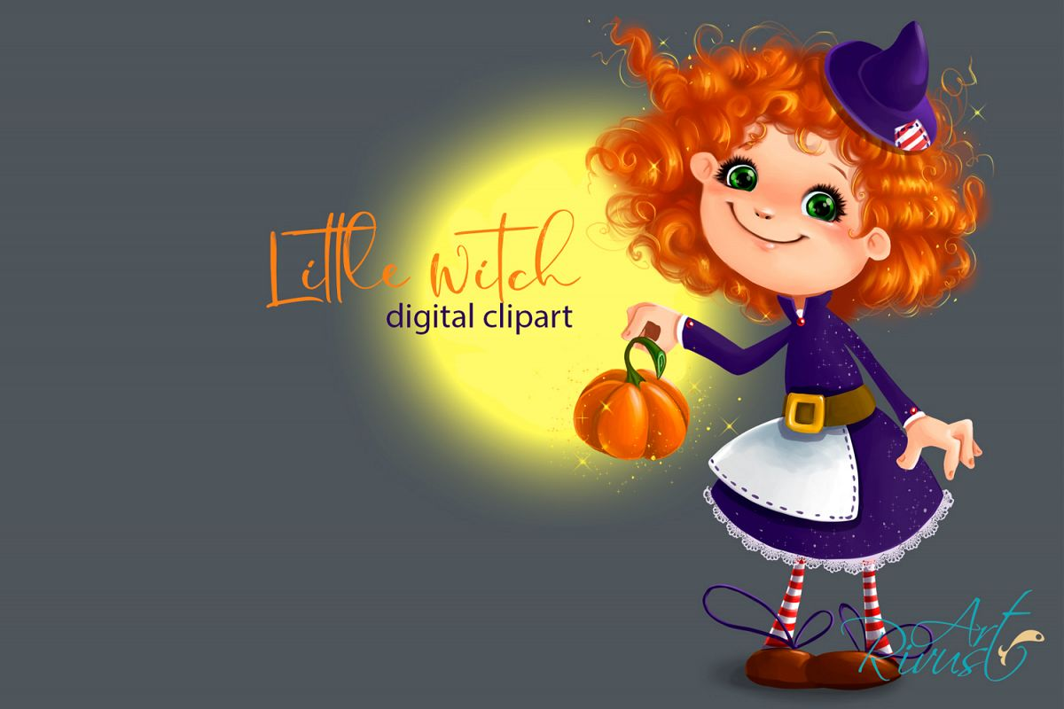 Witch clipart cute halloween character. Little pumpkin fall