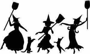 Witches silhouette silhouettes . Witch clipart dancing