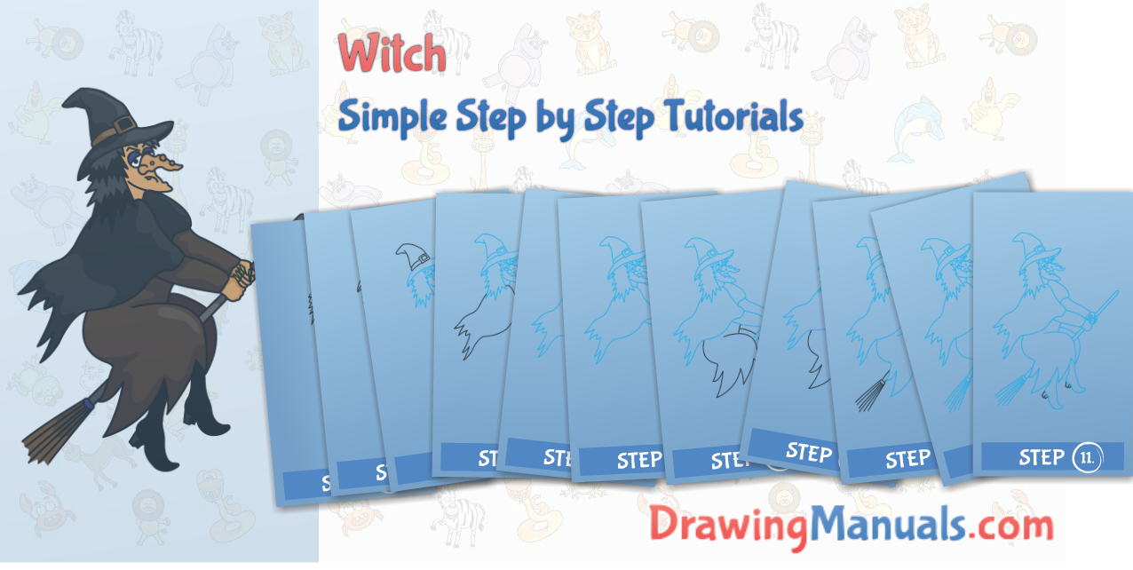 Witch clipart dragon. How to draw a