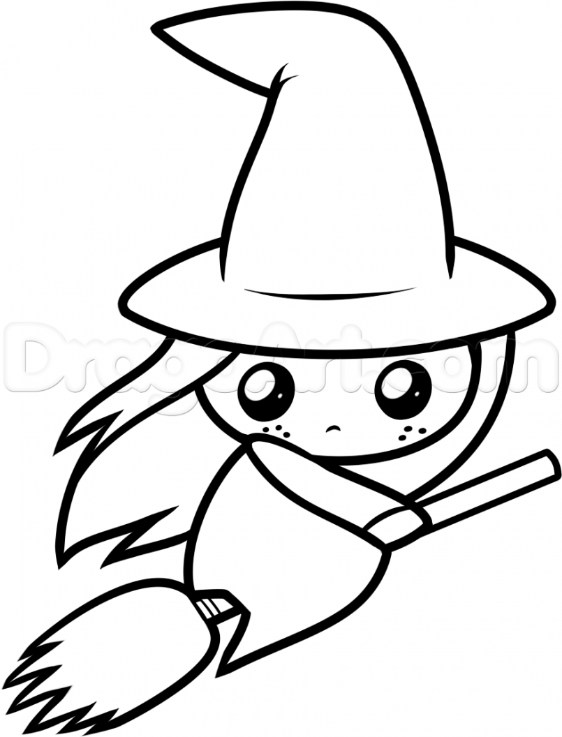 Witch clipart easy. Hat drawing free download
