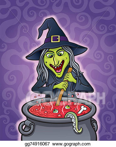 Witch clipart evil witch. Stock illustration wicked stirring