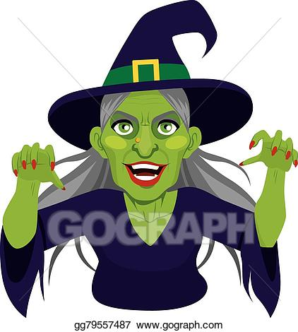 Vector illustration old scary. Witch clipart evil witch
