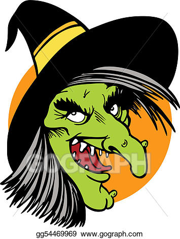 Witch clipart face. Vector art drawing gg