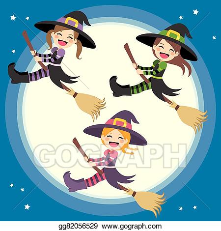 Witch clipart group witch. Eps vector cute witches