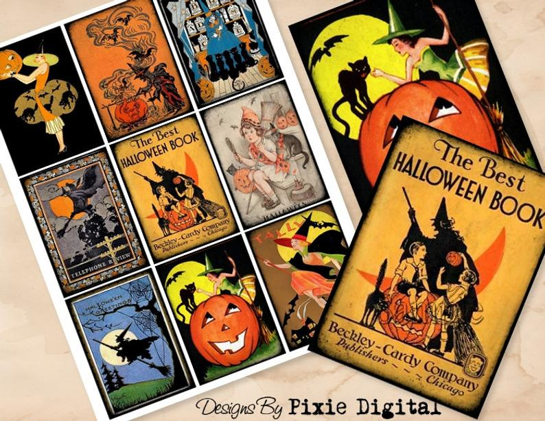 Witch clipart halloween book. Digital collage sheet download