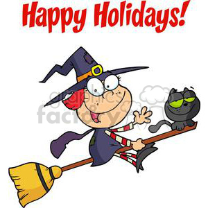 Witch clipart happy. Holidays greeting with halloween