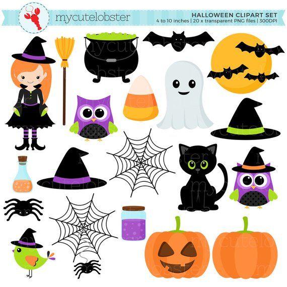 Halloween set clip art. Witch clipart item