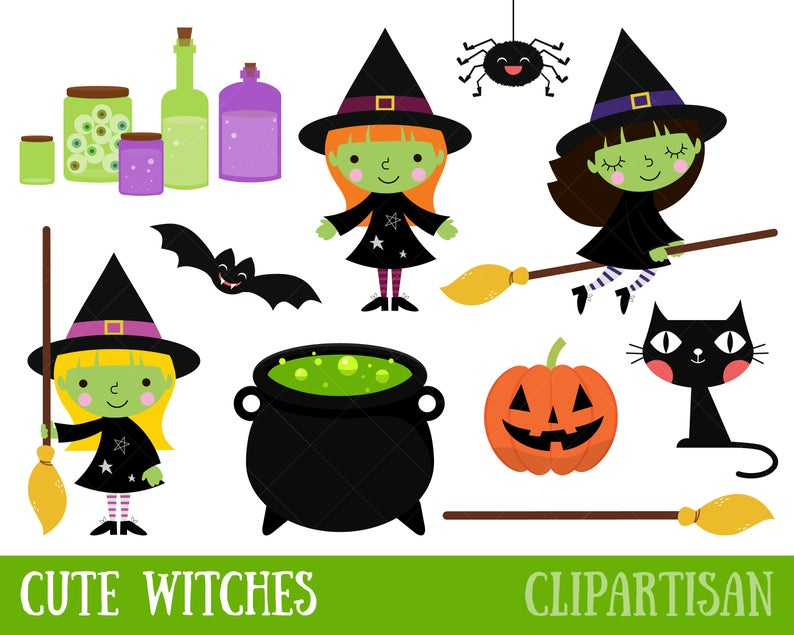 Witch clipart item. Cute halloween witches