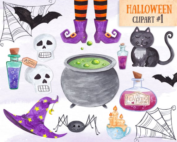Halloween watercolor items commercial. Witch clipart item