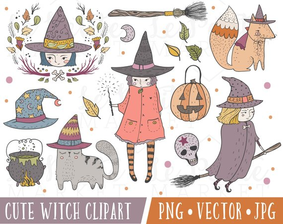 Cute images illustration set. Witch clipart kawaii