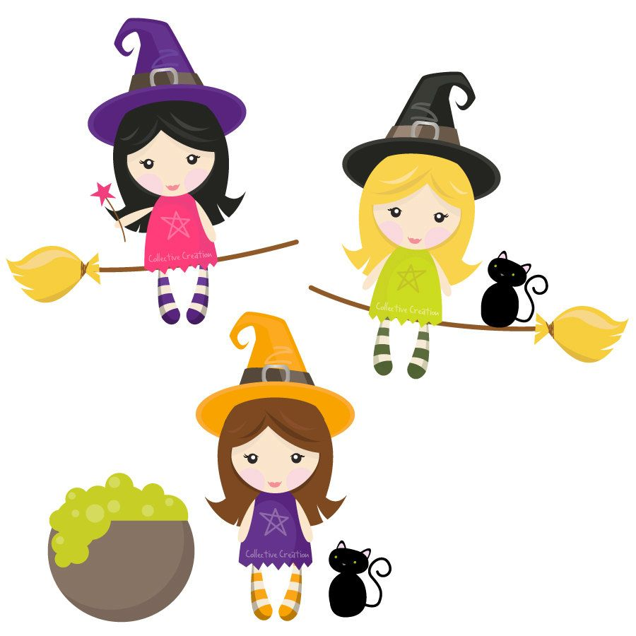 Witch clipart little witch. Witches digital set clip