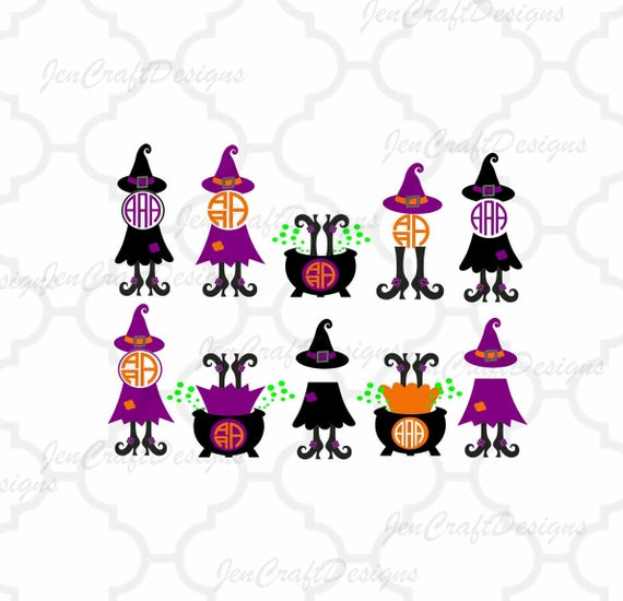 Svg halloween design legs. Witch clipart monogram