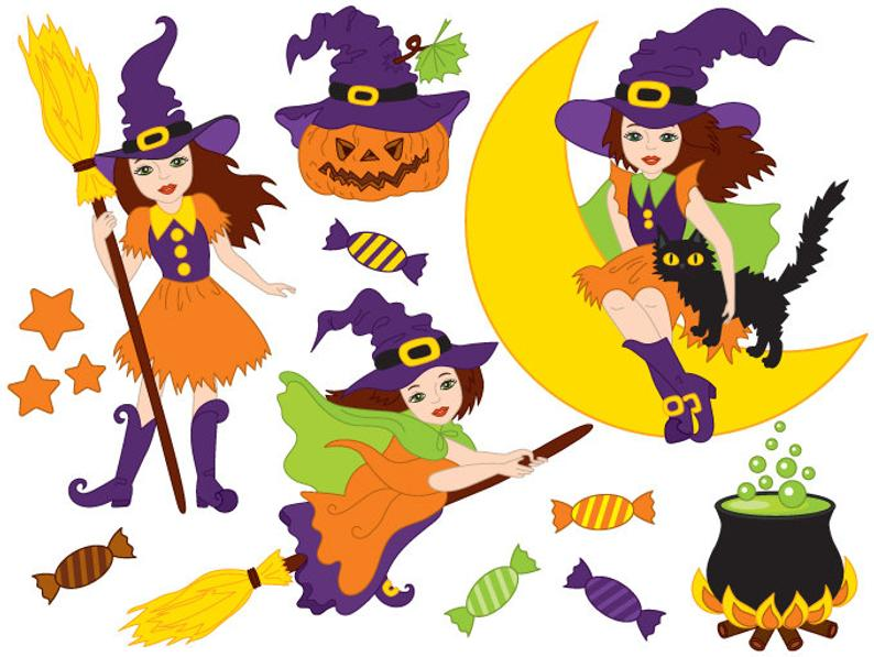 Witch clipart nature. Halloween digital vector moon