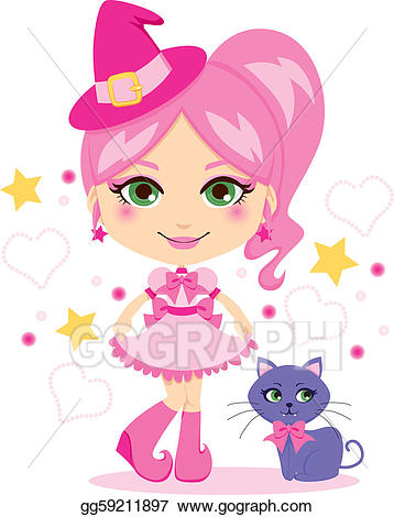 Eps illustration cute vector. Witch clipart pink