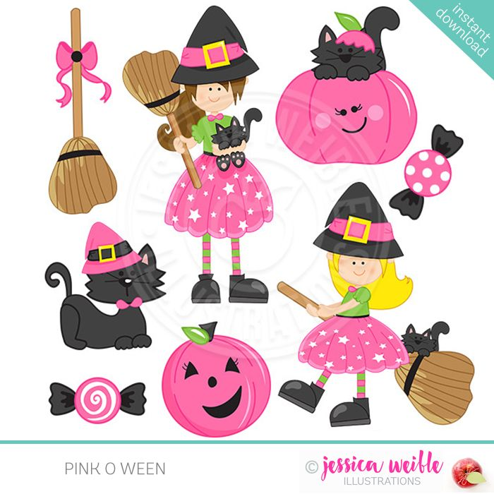 Witch clipart pink. O ween inspiration halloween