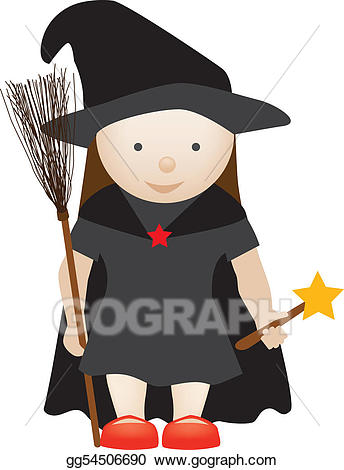 Witch clipart pretty witch. Stock illustration cute drawing