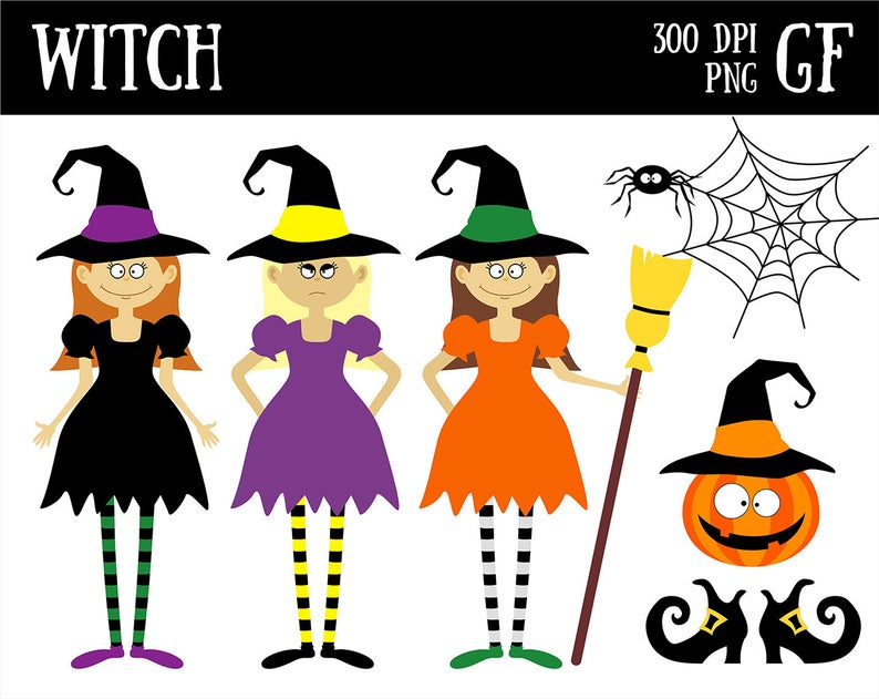 Halloween scrapbooking party decor. Witch clipart printable