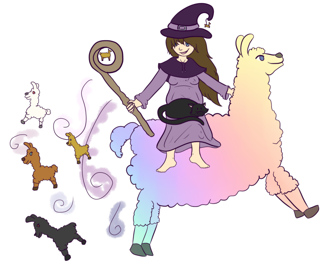 Witch clipart profile. Mana the llama by