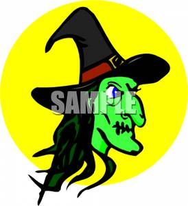 Witch clipart profile. A of green royalty