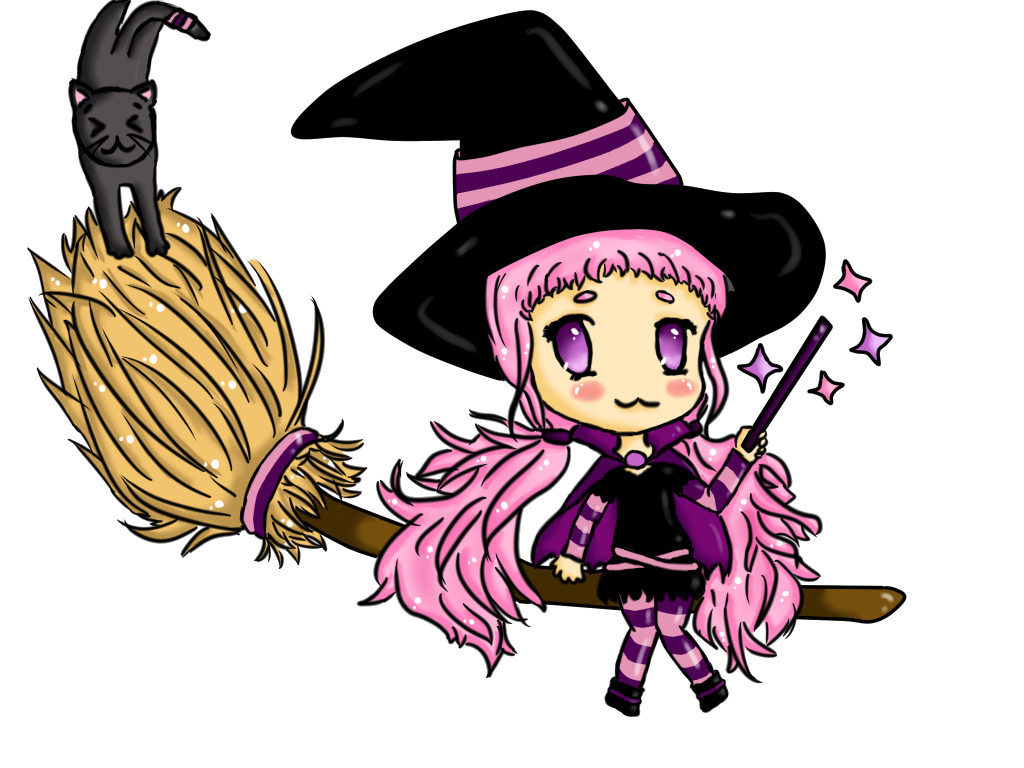 Chibi by apple on. Witch clipart purple witch