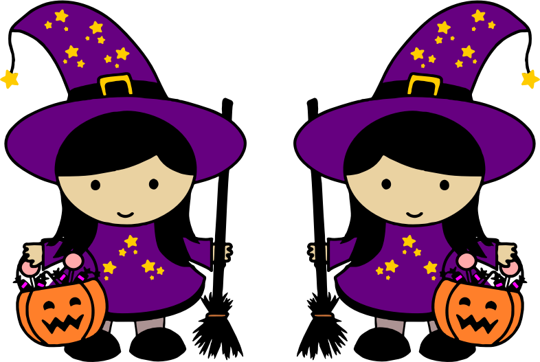 Witch clipart purple witch. Twin halloween witches medium